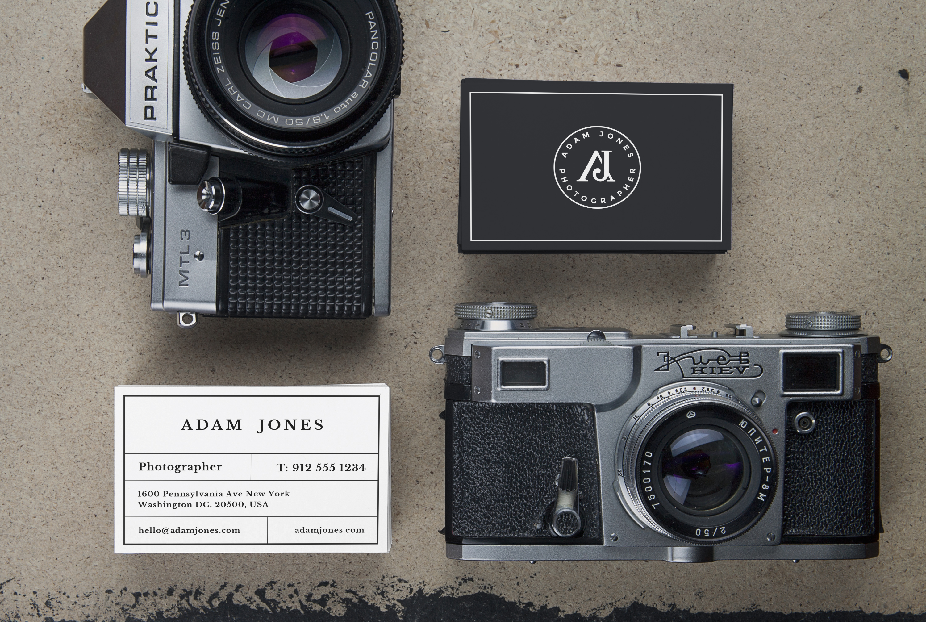 Vintage cameras b cards mockup pafpic this mock up includes two scenes featuring two stacks of business cards and two vintage cameras with a perspective and top views colourmoves